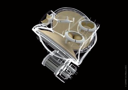 Fig. 2: Rappresentazione grafica dell'interno del CARMAT TAH. Il sacco flessibile esterno che contiene il liquido d'azione non è rappresentato.